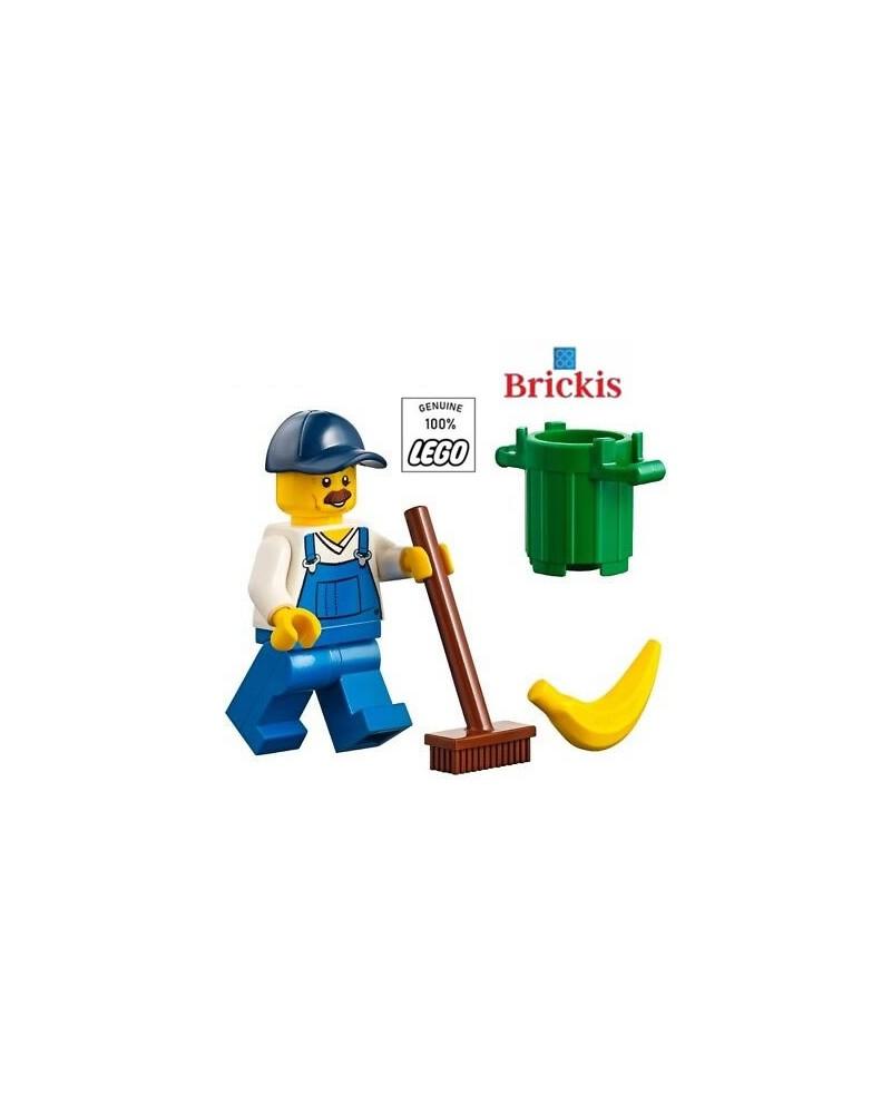 LEGO® Minifiguur Vuilnisman borstel - vuilbak - banaan