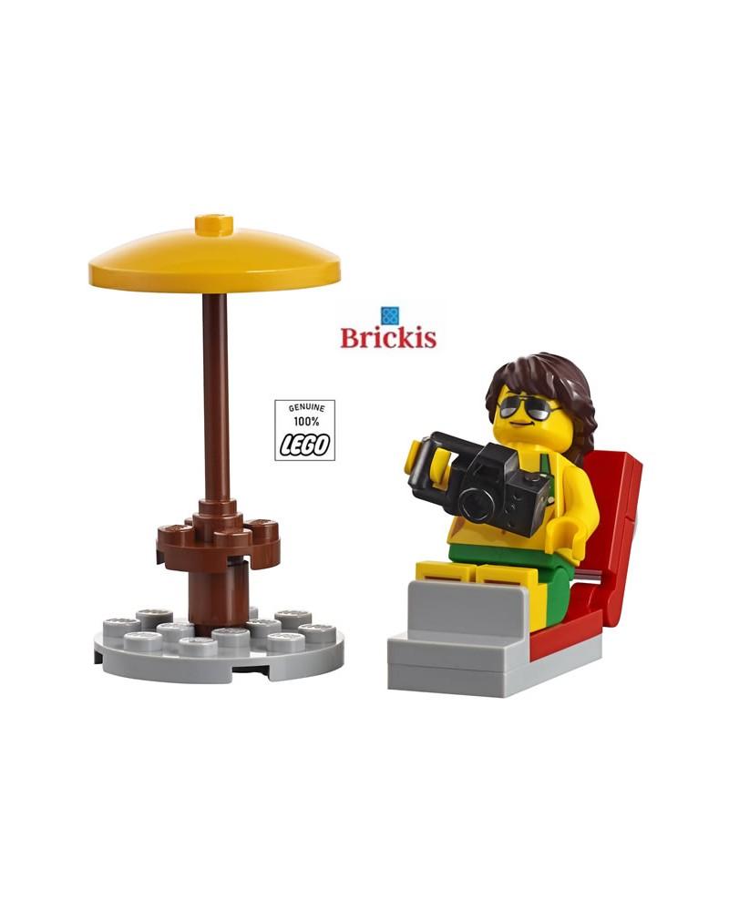 LEGO® Minifiguur Meisje op het Strand in strandstoel met camera en Parasol