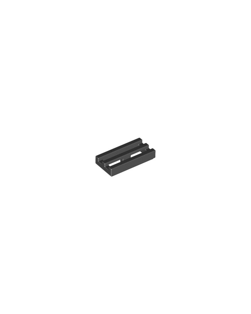 LEGO® Tegel, Gemodificeerd 1x2 Rooster Bodemgroef / Lip Zwart 2412b