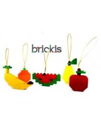 faites avec LEGO pomme, poire, melon d'eau, mandarine et banane