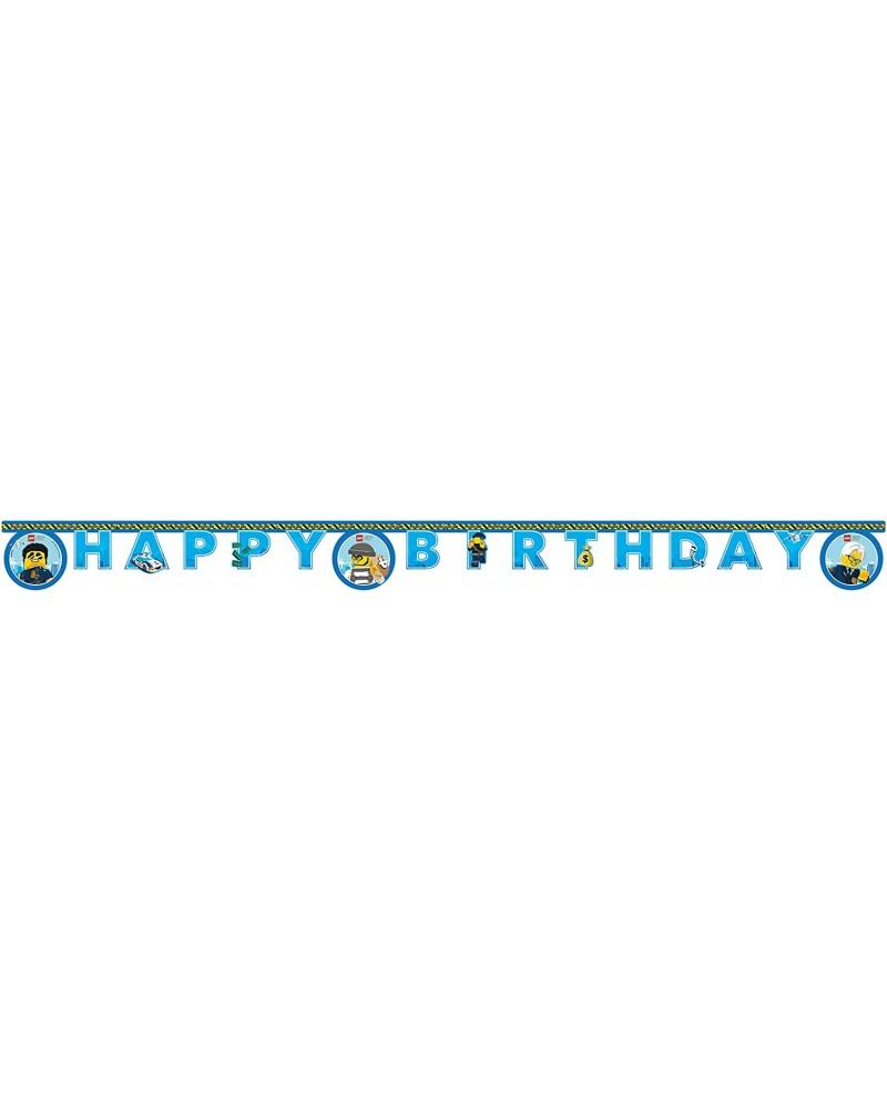 Banner Happy Birthday Lego City 2 meter papier blauw