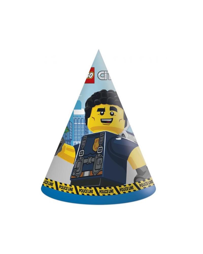 6x Feesthoedjes Lego City junior papier blauw