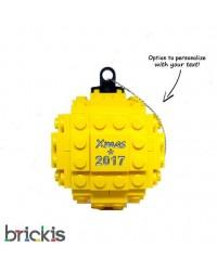LEGO ® Kerstmis bal gegraveerd 2018 geel