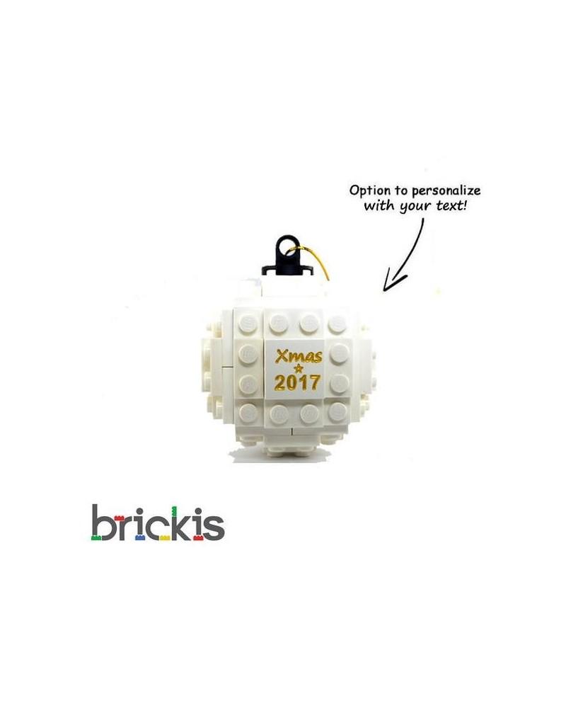 LEGO ® Kerstmis bal gegraveerd 2018 wit