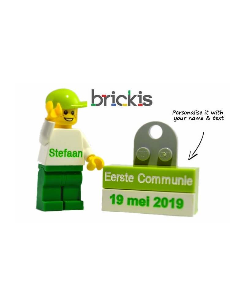 Gepersonaliseeerde LEGO® minifiguur, met naam voor de Eerste Communie, verkrijgbaar in verschillende kleuren en vanaf 1 stuk