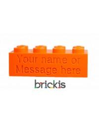 LEGO® Stein mit Namen graviert orange
