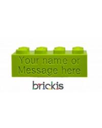 LEGO® blokje met naam gegraveerd limoen groen
