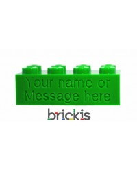 LEGO® brick 2x4 engraved with name green